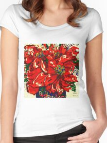 Red Poinsettia Women's Fitted Scoop T-Shirt