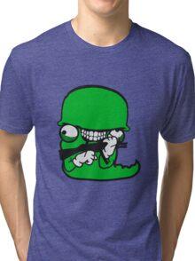 wurm worms soldat armee waffe krieg schießen ballern raupe wahnsinnig gesicht comic cartoon design cool crazy verrückt verwirrt blöd dumm komisch gestört  Tri-blend T-Shirt