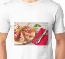 Cutting board with prosciutto and melon Unisex T-Shirt