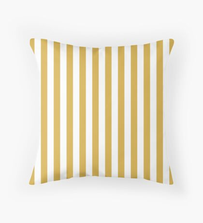Large Mustard Yellow and White Cabana Tent Stripe Throw Pillow