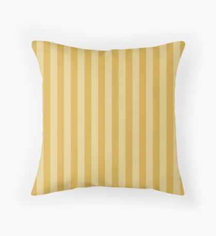 Large Faded Two Tone Spicy Mustard Yellow Cabana Tent Stripe Throw Pillow