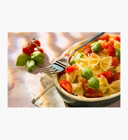 Closeup of Italian Farfalle pasta with tomatoes, basil and fork Photographic Print