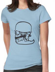 wurm worms soldat armee waffe krieg schießen ballern raupe wahnsinnig gesicht comic cartoon design cool crazy verrückt verwirrt blöd dumm komisch gestört  Womens Fitted T-Shirt