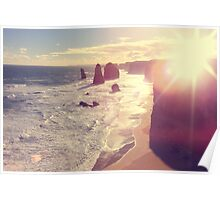 Twelve Apostles with Sun Flare Port Campbell National Park Australia Poster
