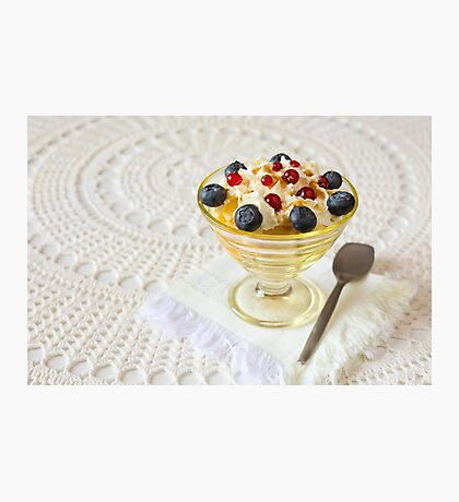 Dessert with berries and cream Photographic Print