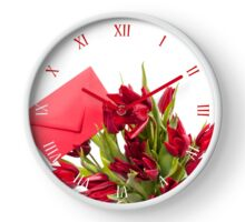 Cut red tulips bouquet with envelope Clock