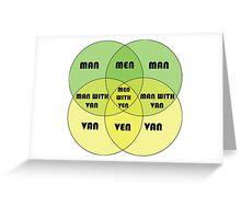 Men With Ven Venn diagram Greeting Card