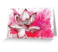 Red Lotus Flower Illustration Watercolour Pencil Love Nature Greeting Card