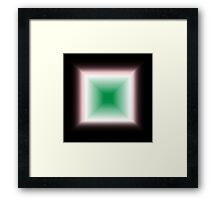 Block Gradient - Green | White | Red | Black Framed Print