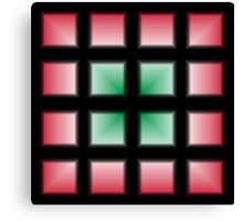 Blocks Gradient - Green | White | Red | Black Canvas Print