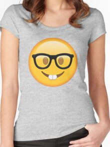 Nerd Glasses Buckteeth Emoji Design Women's Fitted Scoop T-Shirt