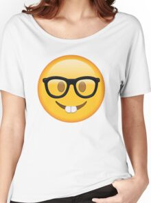 Nerd Glasses Buckteeth Emoji Design Women's Relaxed Fit T-Shirt