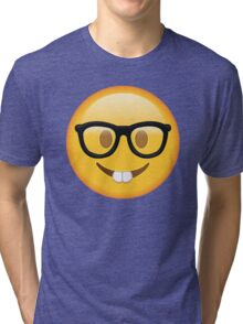 Nerd Glasses Buckteeth Emoji Design Tri-blend T-Shirt