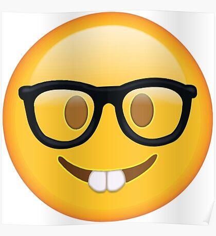 Nerd Glasses Buckteeth Emoji Design Poster