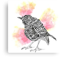 Stripes and Red Robin Canvas Print
