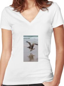 Mr. Pelican in flight Women's Fitted V-Neck T-Shirt