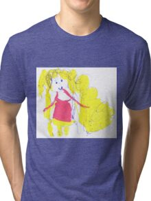 The girl with golden hair - child's drawing Tri-blend T-Shirt