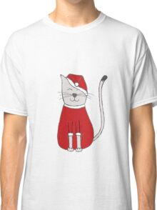 sweet christmas santa claus red cat gift Classic T-Shirt
