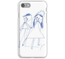 Boy and girl - child's drawing iPhone Case/Skin