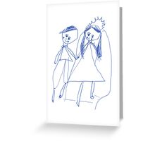 Boy and girl - child's drawing Greeting Card