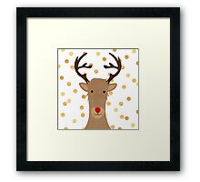 Rudolf the red nose reindeer, fun,hand painted,christmas,gold polka dots, modern,trendy Framed Print