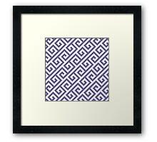 Greek key pattern, navy blue,white,modern,trendy,pattern Framed Print