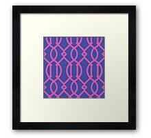 Trellis,modern,trendy,hot pink, deep blue,strong colours Framed Print