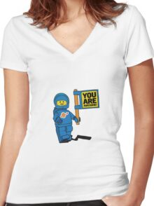 Lego-Inspired Benny | You Are Awesome!  Women's Fitted V-Neck T-Shirt