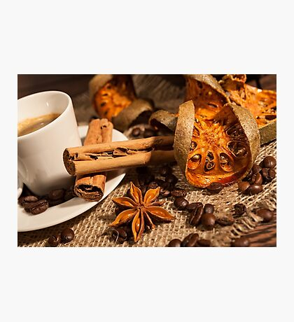 Close-up of cup of coffee with cinnamon and star anise Photographic Print