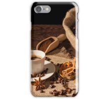 Coffee cup with cinnamon, star anise and dried orange fruit iPhone Case/Skin