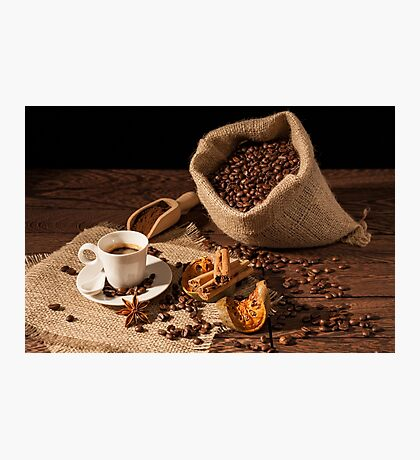 Coffee cup with cinnamon, star anise and dried orange fruit Photographic Print