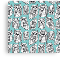 Cute Owl Sketch Doodle  pattern Canvas Print