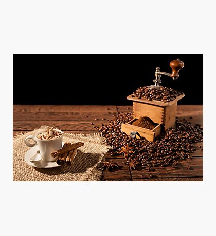 Coffee cup with whipped cream and coffee grinder Photographic Print