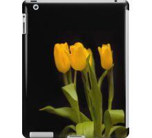 Yellow tulips on a black background iPad Case/Skin