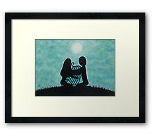Music Art: Lyre, Couple, Moonand  Stars Framed Print
