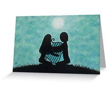 Music Art: Lyre, Couple, Moonand  Stars Greeting Card