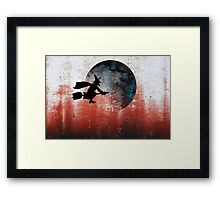 Halloween....A witch and her broomstick Framed Print