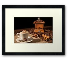 Coffee cup with whipped cream, cocoa powder and star anise Framed Print