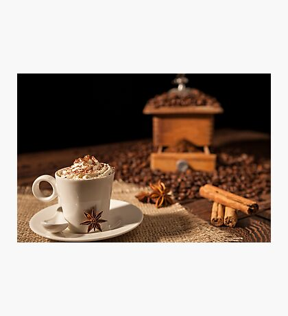 Coffee cup with whipped cream, cocoa powder and star anise Photographic Print