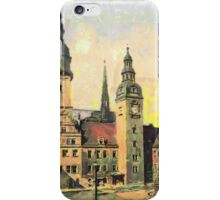 A digital painting of The City Hall, Chemnitz, Saxony in the 19th century iPhone Case/Skin