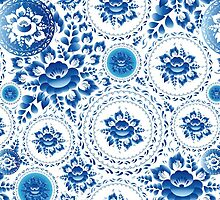 Vintage Seamless pattern with blue flowers and leaves  by EkaterinaP