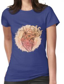 Image of heart in steampunk style. Watercolor background with flowers Womens Fitted T-Shirt