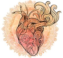Image of heart in steampunk style. Watercolor background with flowers Photographic Print