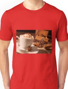 Close-up on star anise and cinnamon sticks with coffee cup Unisex T-Shirt