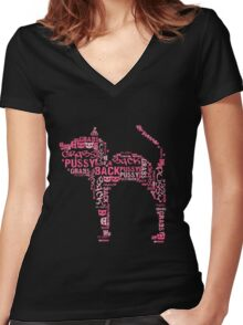 Pussy Grabs Back Kitty Cat Women's Fitted V-Neck T-Shirt