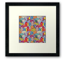 Cityscape seamless pattern. Sketch.  Framed Print