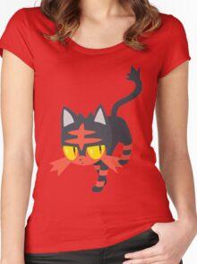 Litten Pokemon Sun and Moon Women's Fitted Scoop T-Shirt