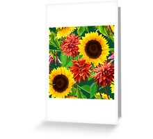 seamless pattern of sunflowers with dahlias Greeting Card