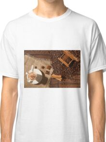 Coffee cup, star anise, cinnamon sticks and coffee beans Classic T-Shirt