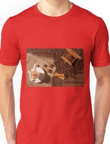 Coffee cup, star anise, cinnamon sticks and coffee beans Unisex T-Shirt